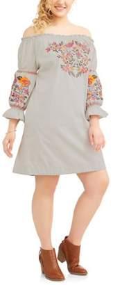 POOF Junior's Plus 3/4 Sleeve Off Shoulder Embroidered Sun Dress
