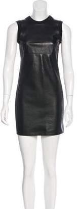 Alexander Wang Leather-Paneled Merino Wool-Blend Dress