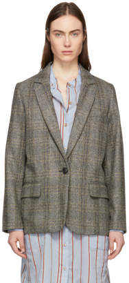 Etoile Isabel Marant Beige and Grey Charly Oversized Blazer