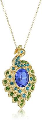 "Swarovski 18k Yellow Gold Plated Sterling Silver Blue and Green Peacock Pendant Necklace Made with Crystal (18"")"