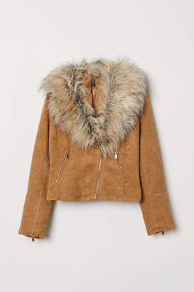 H&M Faux Fur-collar Biker Jacket - Beige