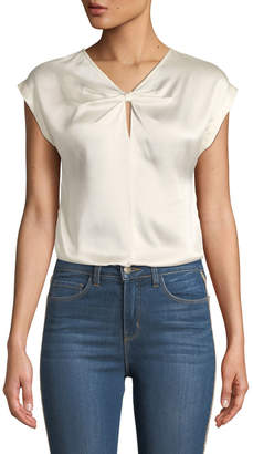 Rebecca Taylor Knot-Front Sleeveless Charmeuse Blouse