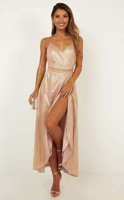 Showpo Blooming beauty dress in blush metallic - 12 (L) Occasion