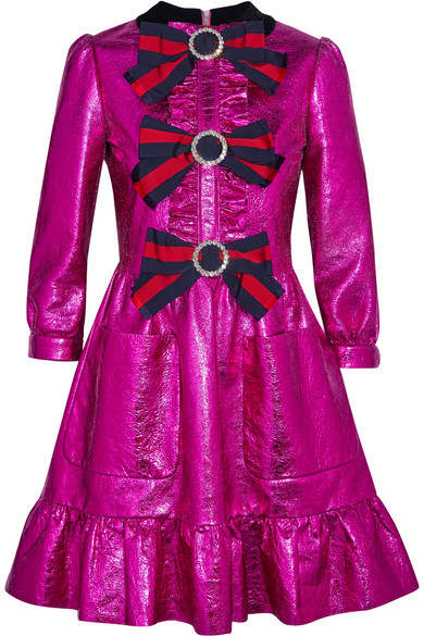 Gucci - Embellished Ruffled Metallic Textured-leather Mini Dress - Magenta