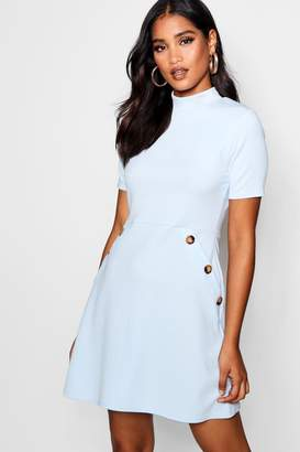boohoo Button Detail High Neck Dress