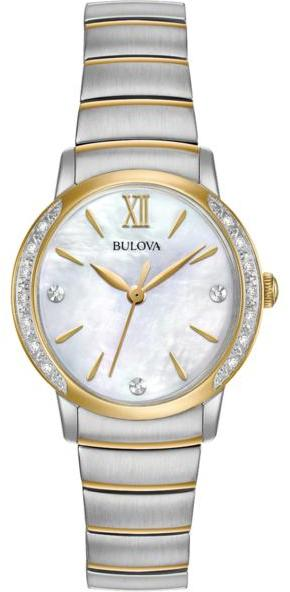 BulovaBulova Ladies' Diamond Collection 2-Tone White Mother-of-Pearl Dial Diamond-Accented Bracelet Watch