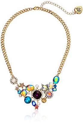 Betsey Johnson Jewelry Women's Mixed Stone Cluster Frontal Necklace