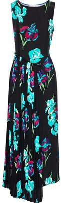 Diane von Furstenberg Draped Crepe De Chine-Paneled Floral-Print Silk-Twill Maxi Dress