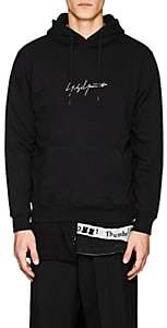 Yohji Yamamoto Men's Logo-Embroidered Cotton French Terry Hoodie - Black