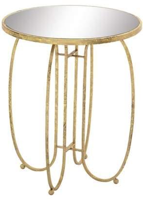 Benzara Sleek and Stylish Metal Mirror Accent Table