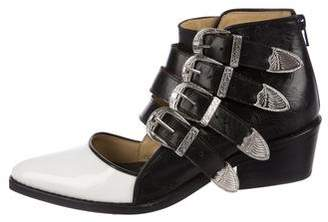 Toga Leather Cutout Ankle Boots