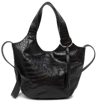 Elizabeth and James Small Finley Croc Embossed Leather Shopper Bag