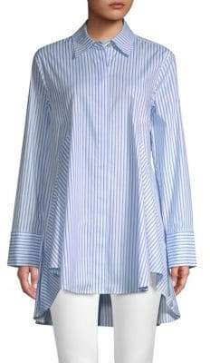 Donna Karan Striped High-Low Button-Down Shirt