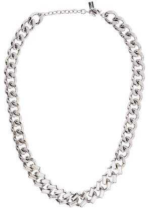 Saint Laurent Crystal Embellished Curb Link Chain Necklace - Womens - Silver
