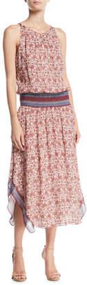 Ramy Brook Maren Floral Smocked Silk Midi Dress