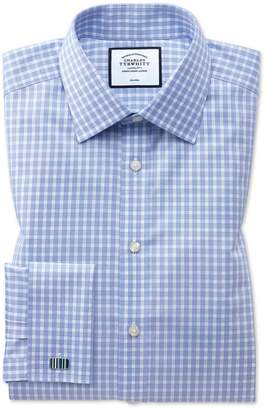 Charles Tyrwhitt Classic Fit Non-Iron Twill Sky Blue Gingham Cotton Dress Shirt French Cuff Size 15.5/32