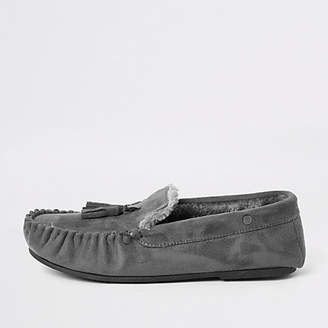 River Island Grey faux fur lined moccasin slippers