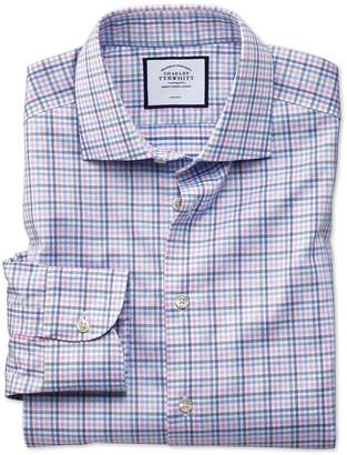 Charles Tyrwhitt Slim Fit Business Casual Non-Iron Pink and Blue Check Cotton Dress Shirt Single Cuff Size 14.5/33
