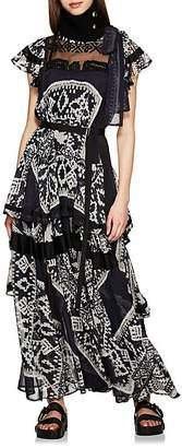Sacai Women's Belted Mixed-Media Tiered Dress