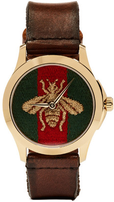 Gucci Gold Medium G-Timeless Bee Watch $850 thestylecure.com