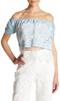 Lucy Paris Off-the-Shoulder Knit Blouse