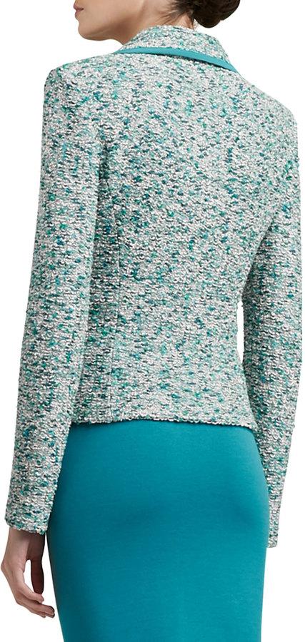St. John Ocean Wave Shimmer Tweed Knit Jacket With Silk CDC Binding