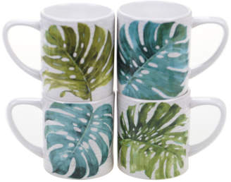 Certified International Palm Leaves Set Of 4 16Oz Mugs