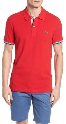 Lacoste Slim Fit Stripe Sleeve Cotton Polo