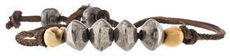 Saint LaurentSaint Laurent Leather & Skull Bead Bracelet