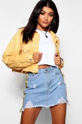 boohoo Mustard Cropped Oversized Denim Jacket