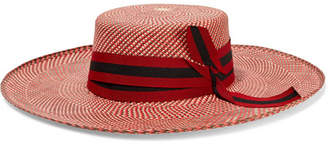 Sensi Studio - Grosgrain-trimmed Toquilla Straw Hat - Red