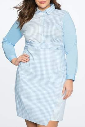 ELOQUII Mix Print Wrap Front Shirt Dress (Plus Size)