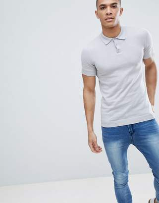 Asos Design DESIGN Knitted Muscle Fit Polo In Pale Grey