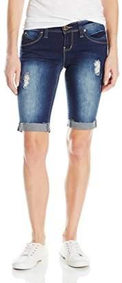 YMI Jeanswear Women's Wannabettabutt Single Button Raw Edge Roll Cuff Bermuda