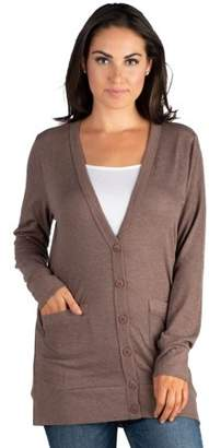 24seven Comfort Apparel Casual Comfort V-neck Pocket Cardigan