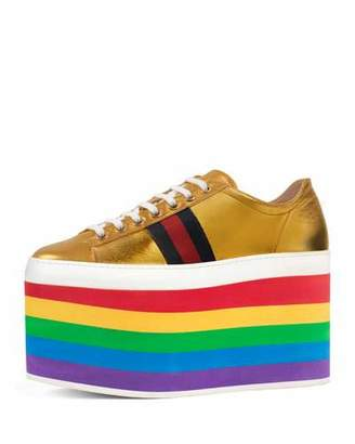 Gucci Peggy Leather Platform Sneakers, Rainbow/Gold