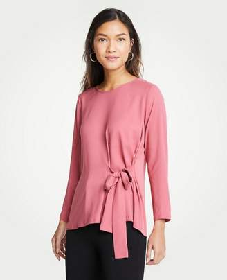 Ann Taylor Petite Side Tie Mixed Media Top
