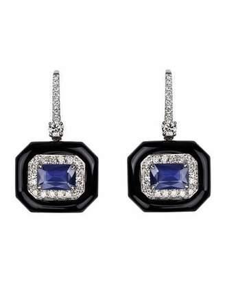 Nikos Koulis 18k White Gold Oui Diamond & Sapphire Earrings