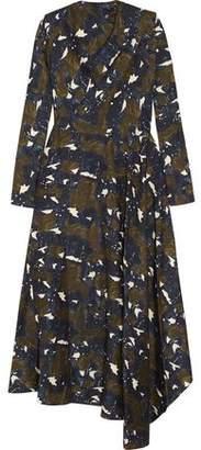 Marni Asymmetric Printed Silk-Twill Maxi Dress