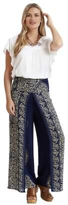 Apricot Navy Paisley Print Wide Leg Trousers