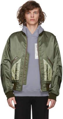 Maison Margiela Green Nylon Bomber Jacket
