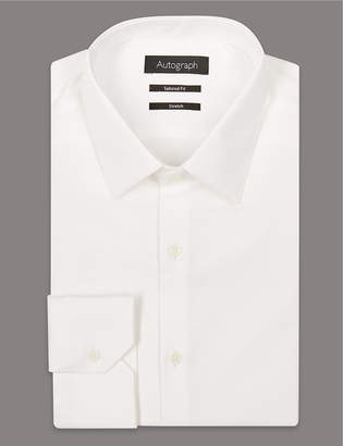 AutographMarks and Spencer 2in Longer Cotton Rich Tailored Fit Shirt