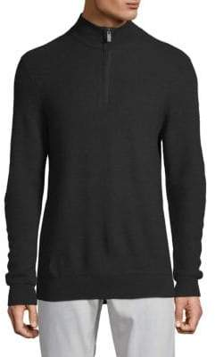 Saks Fifth Avenue Textured Quarter-Zip Wool Sweater
