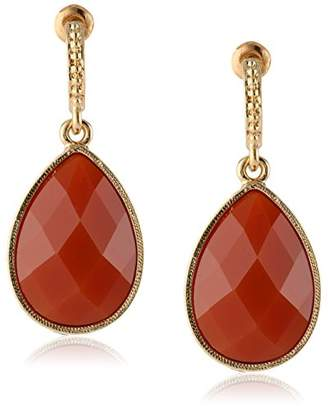"""1928 Jewelry""""Domenica"""" Gold-Tone Red Persimmon Faceted Pear Shape Drop Earrings"""