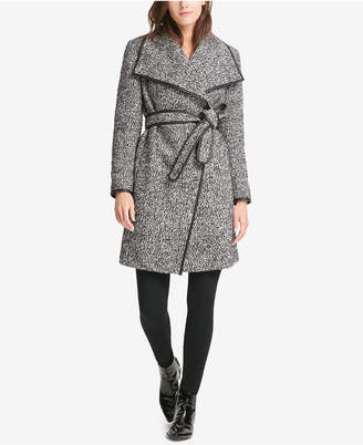 DKNY Faux-Leather-Trim Wrap Coat