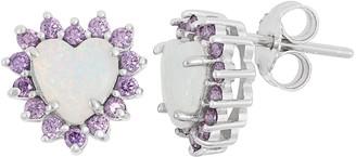 Sterling Silver Lab-Created Opal & Cubic Zirconia Heart Halo Stud Earrings