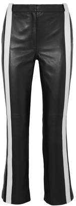 Thierry Mugler Cropped Striped Leather Flared Pants - Black