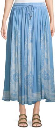 Chelsea & Theodore Border-Print Crinkled Maxi Skirt