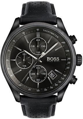 Black Grand Prix Black Chronograph Dial Black Leather Strap Mens Watch