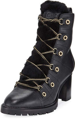 Jimmy Choo Hillary Fur-Lined Block-Heel Hiker Booties